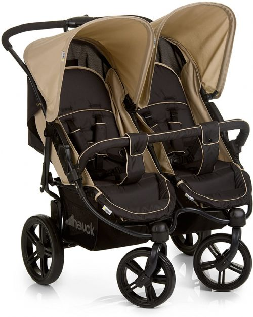 NEW Hauck Roadster Duo SLX Twin Double Buggy Pushchair Pram Black Beige+Raincover